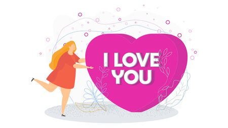 Woman holds a huge heart. I love you. Search for a partner, lover. Date invitation. A romantic offer. Loneliness and the search for a life partner. Flat trending vector illustration. Banque d'images - 138461587