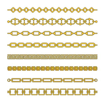 Gold chains with different weaving. Expensive gold jewelry. Illustration