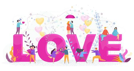 Love lettering. Hugging couples in love. Tenderness between a guy and a girl, between a man and a woman. Valentines Day Greeting Card. Flat trending vector illustration.