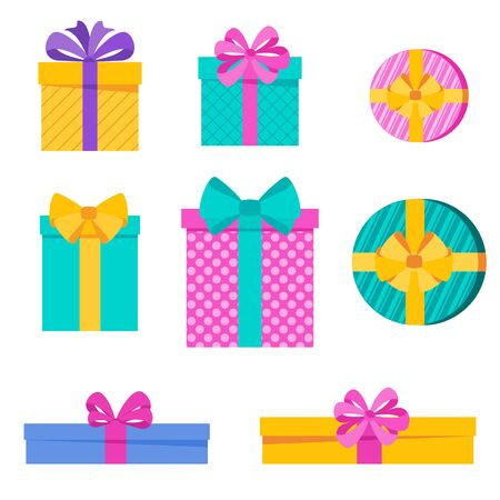 Set of bright fun holiday gift boxes. Element for cards for birthday, new year and christmas, anniversary. Pleasant surprise, joy and festive mood. Flat vector illustration. Illustration