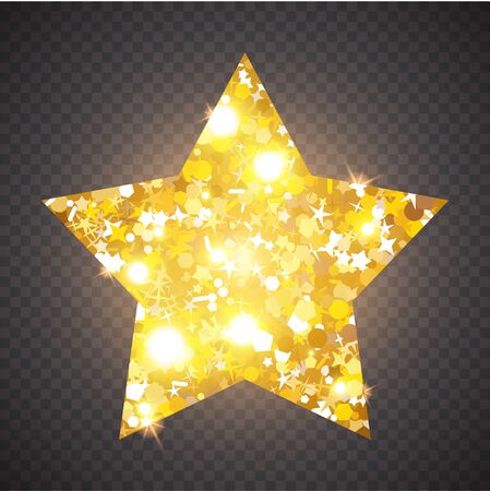 Gold luxury fashion shiny star. Decorative design element