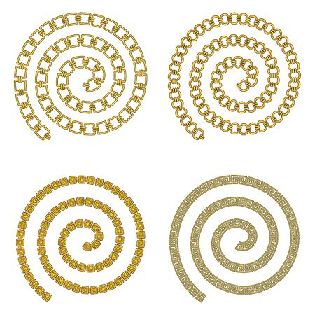 Spiral of golden precious chain. Luxury jewelry.