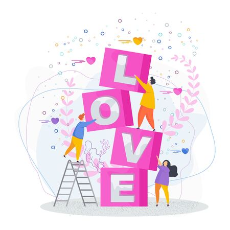 Love lettering. People make the word love out of cubes. Valentine's Day Greeting Card. Flat trending vector illustration.