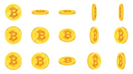 Sprite sheet of gold bitcoin coins rotation. Coin turn around, 2d animation for game and apps. Flat vector cartoon illustration isolated on white background.