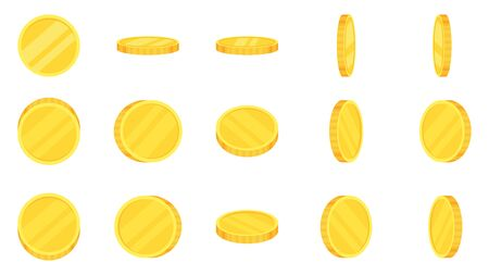 Sprite sheet of gold coins rotation. Coin turn around, 2d animation for game and apps. Flat vector cartoon illustration isolated on white background.