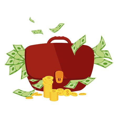 Thick swollen huge brown briefcase with money. Wealth, fraud with money. Banker and businessman, financial success. Flat vector cartoon illustration on white background.