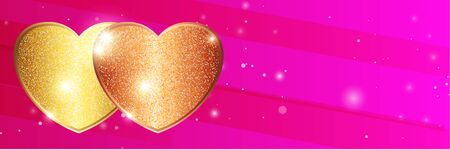 Template of Luxury greeting card for Valentines Day. Shining golden heart on a dark pink gradient background.