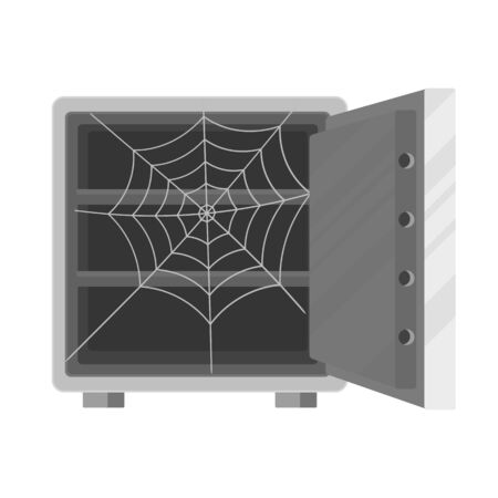 Open empty safe with a cobweb inside on white