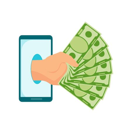 Hand with a fan of money protrudes from mobile phone. Money transfer using mobile device, payment app. Internet banking, contactless payment, financial transactions around world. Flat vector concept.