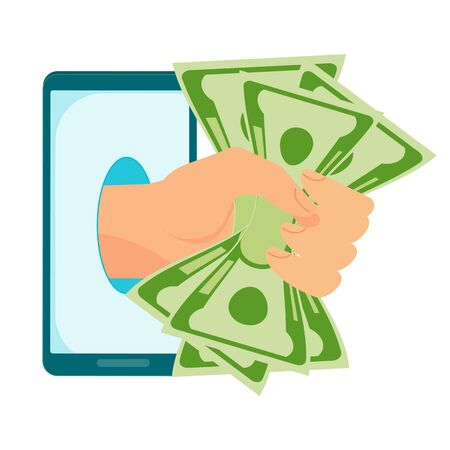 Hand with a wad of money protrudes from a mobile phone. Money transfer using mobile device, payment app. Internet banking, contactless payment, financial transactions around world. Flat vector concept.