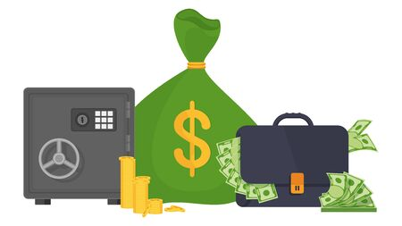 Safe, suitcase and bag for money. Metaphor of success and wealth, greed and stinginess. Collector and transportation of cash from the bank. Flat vector cartoon illustration.