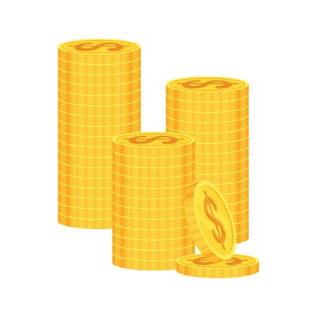 Stacks of gold dollar coins on white background. Flat vector illustration. Success in business and commerce. Investment, growth of revenue, wage, rising prices for goods and services.