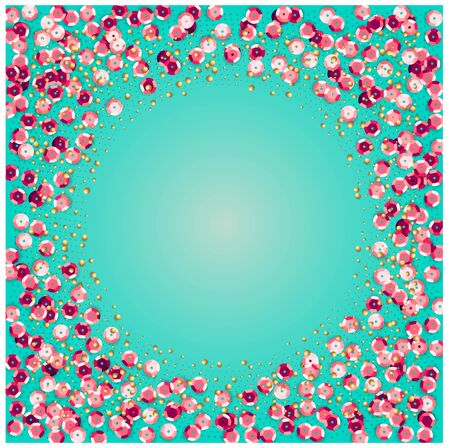 Turquoise square background with shiny pink sequins. Stock Illustratie