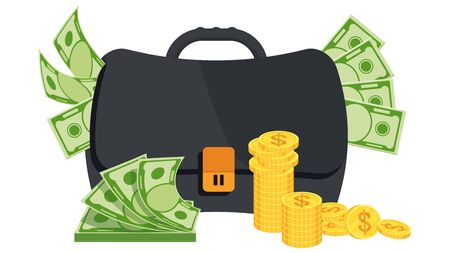 Thick swollen male black briefcase with money.