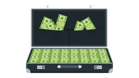 Open suitcase with money. Black leather briefcase with metal aluminum corners