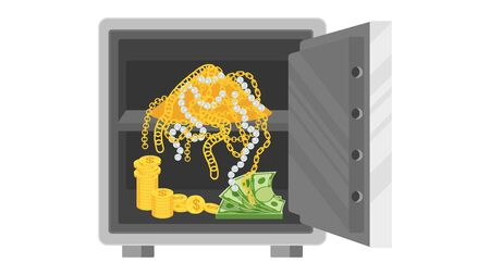 Safe with open door. Inside the safe are money and a bunch of jewels. Flat vector cartoon illustration. Illustration