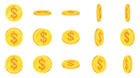 Sprite sheet of gold dollar coins rotation.
