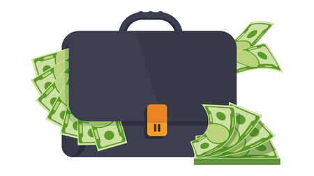 Black male business bag or briefcase in black leather with money.
