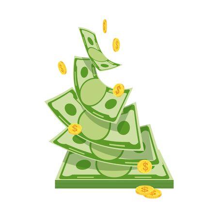 Money flies up from a bundle of money.