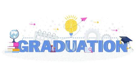 Word graduation typography vector concept Vektoros illusztráció