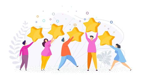 People raise five stars on their heads. Opinions of visitors, clients. Feedback in mobile application. Positive review. Top notch customer service. Flat vector cartoon illustration. Ilustração Vetorial