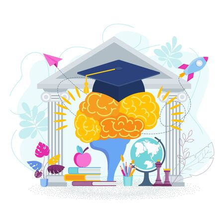 University hat on the brain. Metaphor of learning, knowledge, and education. Graduation high school celebration. Flat vector concept. Illustration