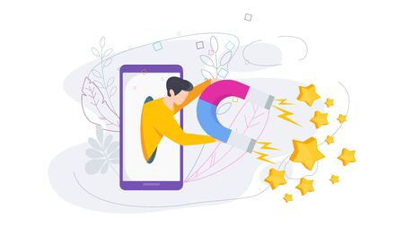 Attract positive reviews. Man from tablet screen magnet attracts positive rating yellow stars. Customer feedback, review evaluation. Flat vector cartoon illustration.