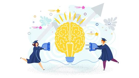 Two students are connect brain to an electrical network. Metaphor of learning, knowledge, and education. Graduation high school celebration. Idea, inspiration, mind and intelligence. Trendy flat vector style.