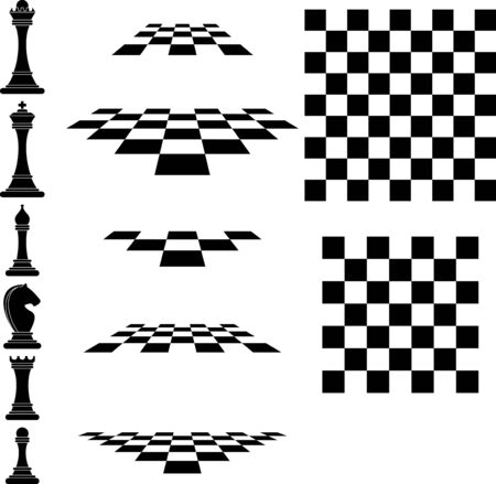 Set chess icons and chessboard. Strategy board game. 일러스트