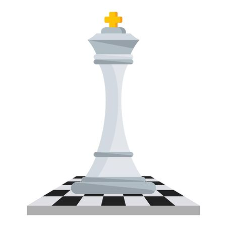 Chess white king on chessboard. Strategy logic board game. 일러스트