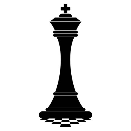Chess king on chessboard. Black silhouette icon.