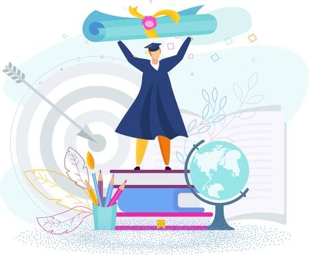 Tiny student raised a huge scroll over his head. Getting a diploma. Metaphor of learning, knowledge, and education. Graduation high school celebration. Flat vector concept.