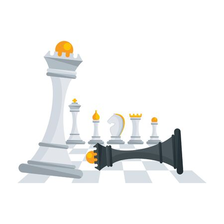 Victory of white chess queen over black. Concept with figures for chess. 일러스트