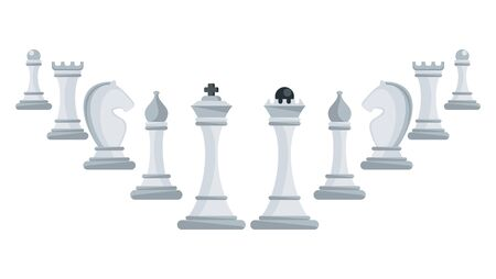 Row of white chess pieces ascending. Strategy board game.