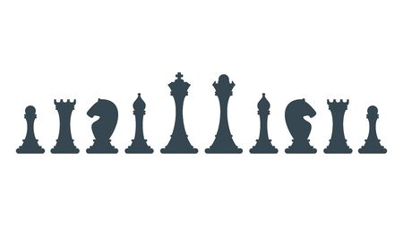 Series of chess pieces. Strategy board game.