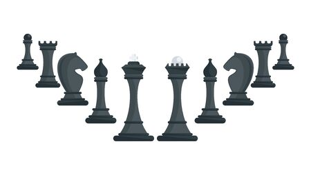 Row of black chess pieces ascending. Strategy board game.