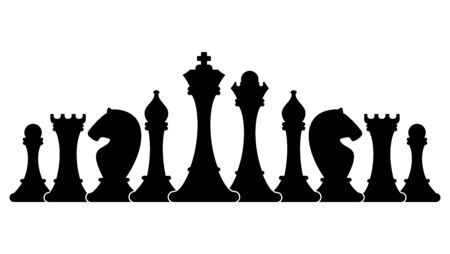Set of figures for chess. Strategy board game.