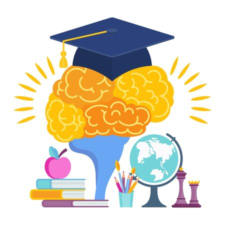 University hat on the brain. Metaphor of learning Archivio Fotografico - 140859743