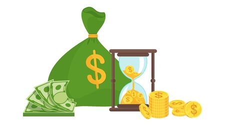 Bag of money and hourglass. Business metaphor. Time is money concept.