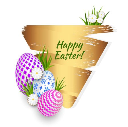 Easter greeting card template with gold brush stroke.