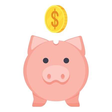 Pig piggy bank flat vector illustration. Deposits and accumulation of money in the bank. Illustration