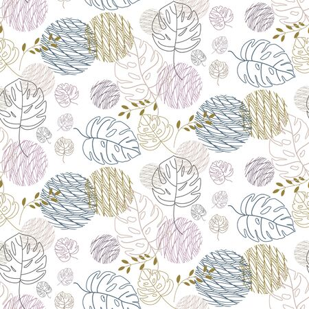 Seamless abstract geometric pattern with natural elements.