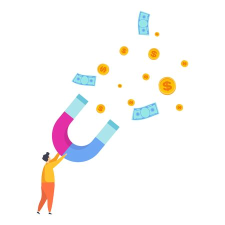 Attract money. Tiny man, businessman attracts money with a huge magnet. Flat cartoon illustration on white background.
