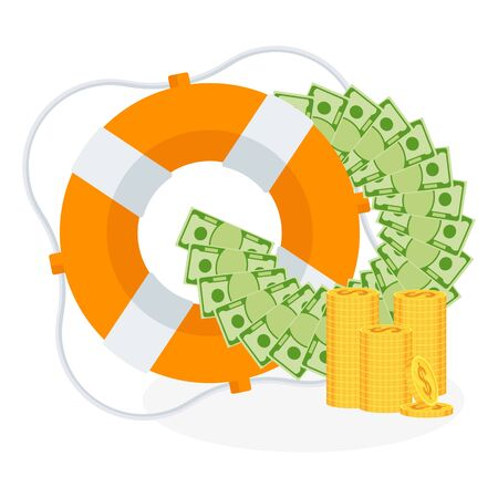Money fan and stack of coins in lifebuoy. Dollars in ring buoy. Rescue of money. Insurance policy. Contingency budget. Guaranteed security of bank deposits and investments. Flat design, vector illustration. Ilustração
