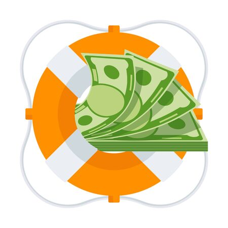 Bundle of money in lifebuoy. Dollars in ring buoy. Rescue of money. Insurance policy. Contingency budget. Guaranteed security of bank deposits and investments. Flat design, vector illustration.