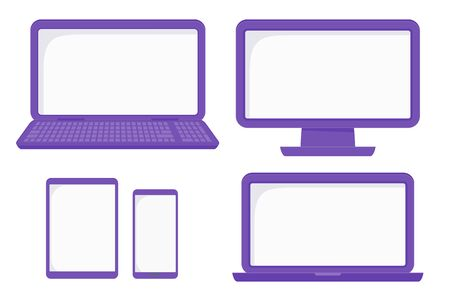 Set of flat vector electronic devices. Computer with monitor and laptop, tablet and mobile phone. Templates with copy space for your text. Illustration isolated on white background.