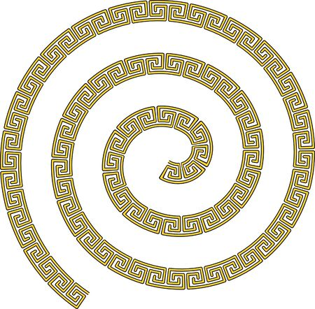 Spiral of golden precious chain. Luxury jewelry for men and women. Flat vector illustration.