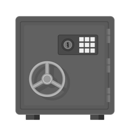 Flat vector illustration of a safe icon front view on white background.