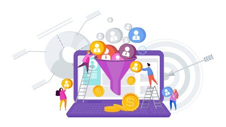 Sales funnel concept. Attracting potential customers. Website conversion in internet marketing. Business metaphor. Trendy flat vector style.