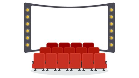 Cinema seats Flat vector objects isolated on a white Illusztráció